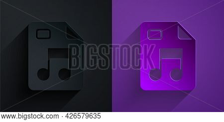 Paper Cut Mp3 File Document. Download Mp3 Button Icon Isolated On Black On Purple Background. Mp3 Mu