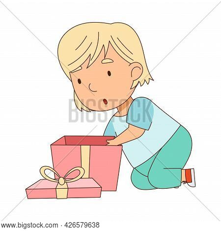 Blond Little Girl Opening Gift Box As Holiday Present Vector Illustration