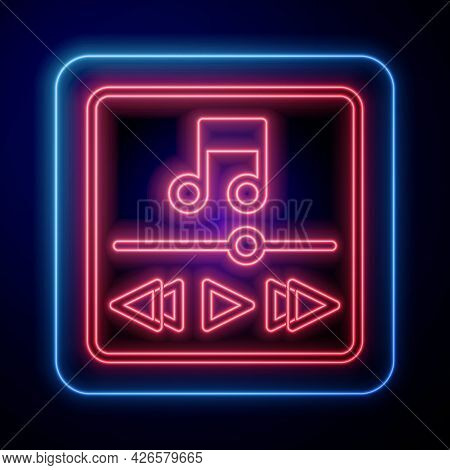 Glowing Neon Music Player Icon Isolated On Black Background. Portable Music Device. Vector