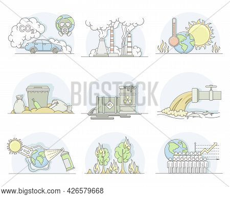 World Resources With Carbon Oxide, Petroleum And Renewable Natural Resources Line Vector Set