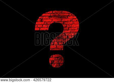 Illustration Of A Red Question Mark With A Brick Texture On A Black Background.