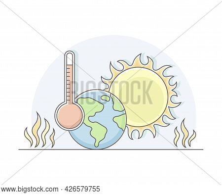 Earth Warming Or Global Warming Effect On Planet With Temperature Thermometer And Burning Sun Line V