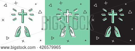 Set Hands In Praying Position Icon Isolated On White And Green, Black Background. Prayer To God With