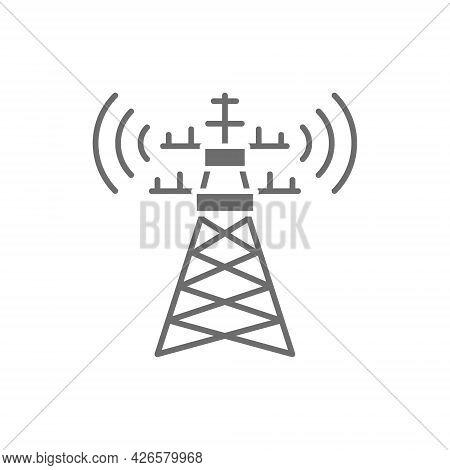 5g Internet Tower, Telecommunications Tower, Satellite Antenna Grey Icon.