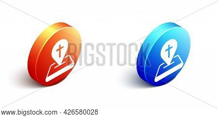 Isometric Map Pin Church Building Icon Isolated On White Background. Christian Church. Religion Of C