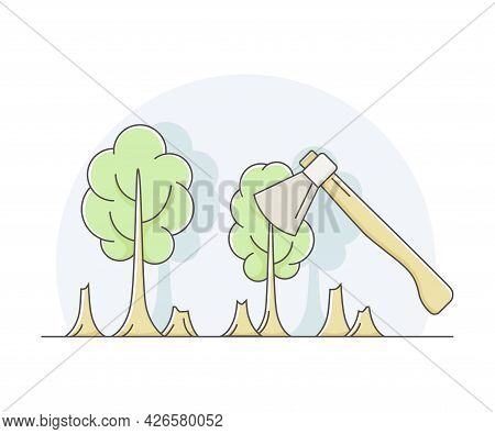Deforestation And Clearcutting As Removal Of Forest For Non-forest Use Line Vector Illustration