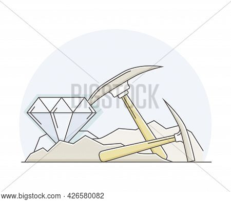 Precious Metal And Natural Resources Extraction And Mining With Pickaxe Line Vector Illustration