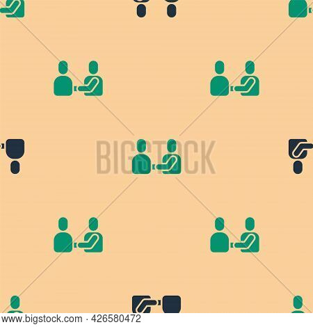 Green And Black Happy Friendship Day Icon Isolated Seamless Pattern On Beige Background. Everlasting