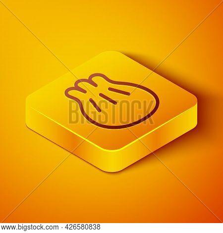 Isometric Line Khinkali On Cutting Board Icon Isolated On Orange Background. Traditional Georgian Du