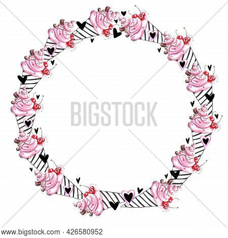 Cute Round Frame, Border Of Pink Watercolor Abstract Ice Creams And Hearts. Hand Drawn Bright Decora