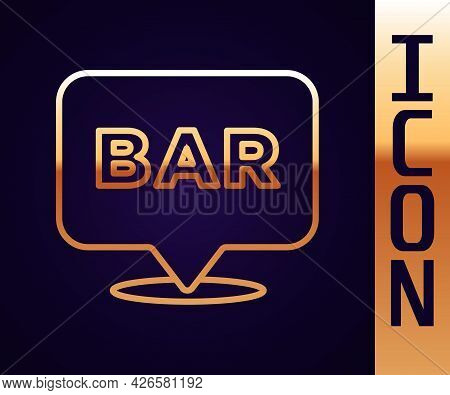 Gold Line Alcohol Or Beer Bar Location Icon Isolated On Black Background. Symbol Of Drinking, Pub, C