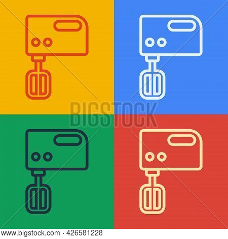 Pop Art Line Electric Mixer Icon Isolated On Color Background. Kitchen Blender. Vector