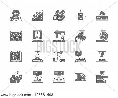 Set Of Metallurgy Industry Gray Icons. Conveyor, Mining Industry, Steel Pipes, Metallurgist, Robotic