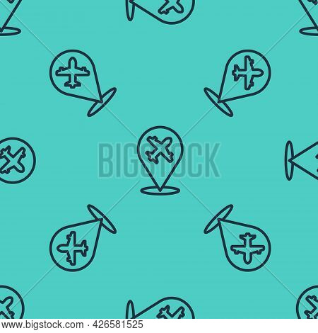 Black Line Plane Icon Isolated Seamless Pattern On Green Background. Flying Airplane Icon. Airliner
