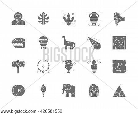 Set Of Prehistoric Age Gray Icons. Tropical Palm Leaf, Dinosaur, Meteorite, Primitive Axe, Torch Fla