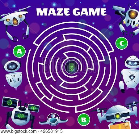 Robots Labyrinth Maze Game, Vector Kid Boardgame With Ai Robots, Cyborgs And Androids. Worksheet Rid