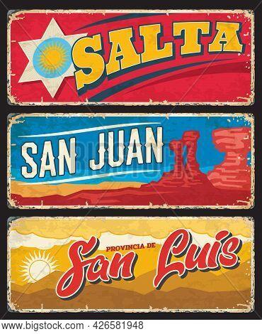 Salta, San Juan And San Luis Provinces Argentine Regions Vector Plates With Coat Of Arms, Ischiguala
