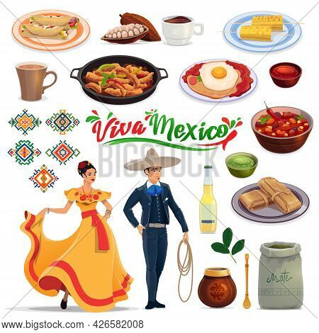 Mexican Meals And Drinks, People In Carnival Costumes. Vector Enchilada, Cacao Beans And Chocolate,