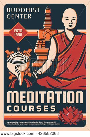 Buddhism Religion Meditation Courses Poster. Meditation Buddhist Monk, Vector Shankha Conch Shell An