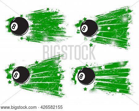 Pool Billiard Game Grunge Banners. Cartoon Vector Black Eight-ball, Green Paint Brushstrokes Or Trac