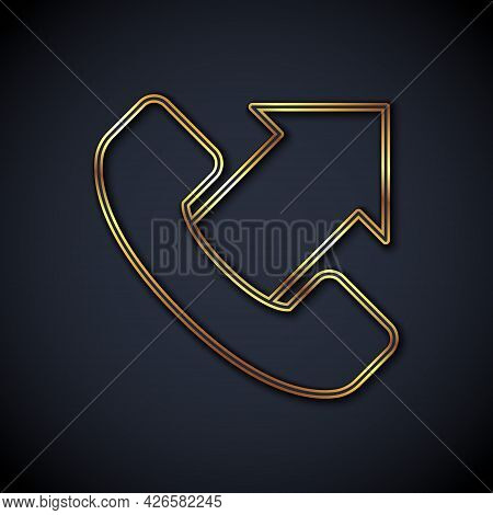 Gold Line Telephone 24 Hours Support Icon Isolated On Black Background. All-day Customer Support Cal