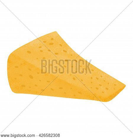 Cheese Piece Vector Flat Illustration. Parmesan Or Gouda Fresh And Tasty Cheese Cut Into Triangle.