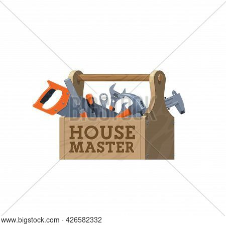 Wooden Toolbox, Vector House Repair Tools Icon. Maintenance Tool Kit, Construction Hardware And Carp