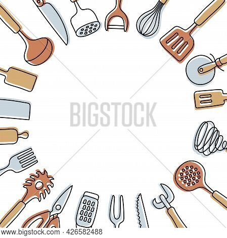 Kitchen Knolling With Copy Space. Kitchenware Sketch Set. Doodle Vector Utensils, Tools And Cutlery.