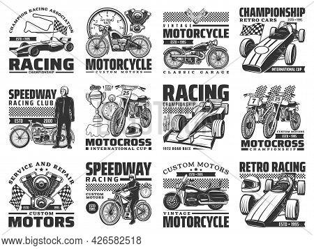 Motor Sport Racing, Vintage Motobike Service Icons Set. Motorcycle Racer, Vintage Chopper And Motocr