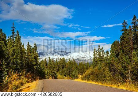 Lush cumulus clouds in the blue sky. The Rocky Mountains of Canada. Indian summer in Jasper Park. Magnificent highway among coniferous forests. Travel and photo tourism concept