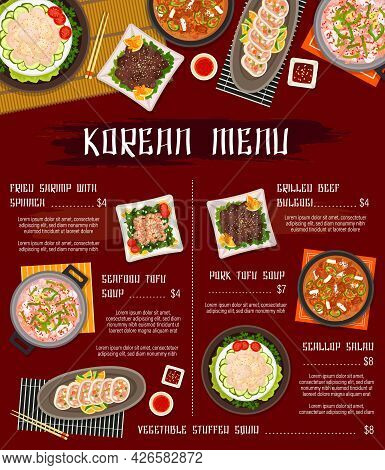 Korean Cuisine Restaurant Menu Template. Grilled Beef Bulgogi, Fried Shrimp With Spinach And Scallop