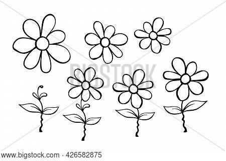 Set Of Hand Drawn Cute Flowers On Stem. Clip Art, Black And White Stylized Botanical Elements For De