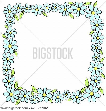 Vector Hand Drawn Square Frame, Border From Color Small Flowers In Doodle Style. Cute Simple Primiti