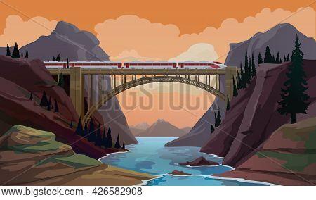 Train On Bridge. Railway Travel Cartoon Vector Scene With Modern High Speed Express Crossing Canyon,