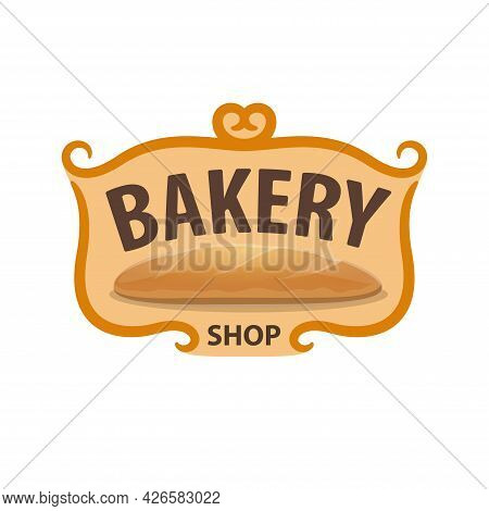 Bakery Shop Icon, Wheat Bread Baked Production Vector Emblem Isolated On White Background. Fresh Cer