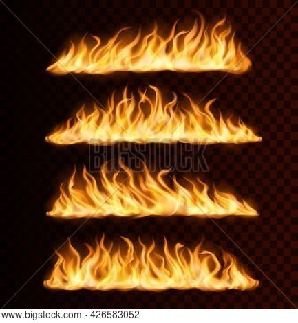 Realistic Fire Flame Trails, Burning Vector Tongues On Transparent Background. Raging Blaze Effect,