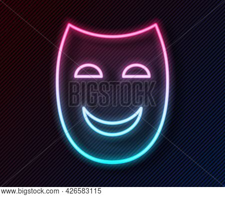 Glowing Neon Line Comedy Theatrical Mask Icon Isolated On Black Background. Vector