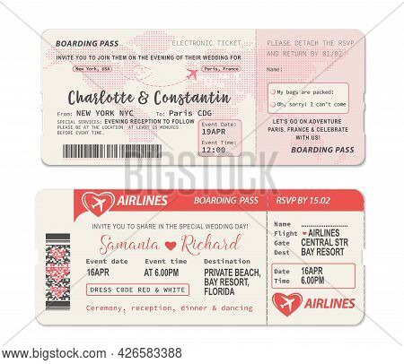 Boarding Pass Ticket. Wedding Invitation Template With Airplane Drawing Heart On World Map During Fl