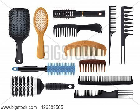 Hairbrushes And Combs Realistic Vector Set. Isolated Hair Brushes, Barber And Hairdresser Tools. Pla