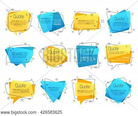 Quote Frames, Vector Speech Bubble Comment Boxes For Texting And Messages. Colored Blank Templates F