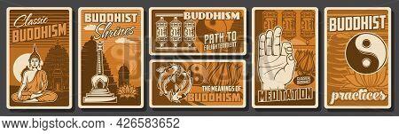 Buddhism Religion, Meditation Spiritual Practices Posters. Meditating Buddha Statue And Buddhist Shr