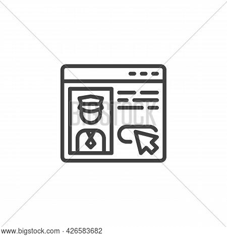 Taxi Driver Review Line Icon. Linear Style Sign For Mobile Concept And Web Design. Taxi Driver Feedb