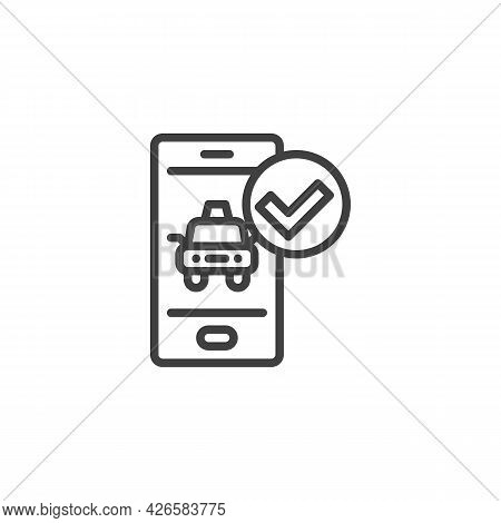 Mobile Taxi Order Line Icon. Linear Style Sign For Mobile Concept And Web Design. Taxi Arrived Outli