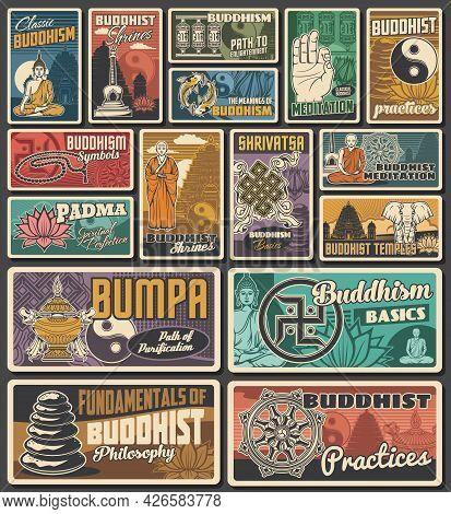 Buddhism Religion Shrines, Meditation Retro Banners And Posters. Buddhism Monk, Buddha, Yin And Yang