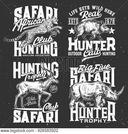Tshirt Prints Safari Hunting Vector Sketch Emblems With Animals Rhino, Leopard, Gazelle And Boar. Wi