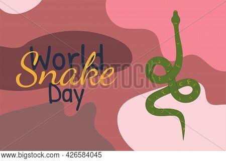 World Snake Day Illustration. Vector Hand Drawn Illustration With Snake On Abstact Spot Background I