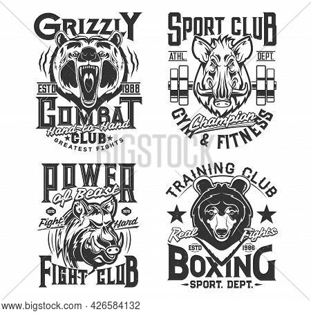 Sport T Shirt Prints, Animals, Gym, Boxing Club And Street Fighting Vector Emblems. Fitness Strong P