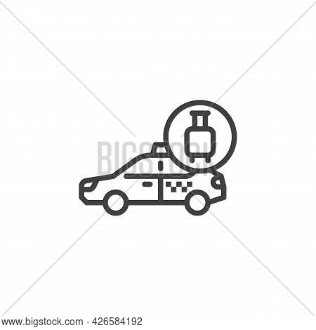 Taxi Baggage Delivery Line Icon. Linear Style Sign For Mobile Concept And Web Design. Taxi Delivery