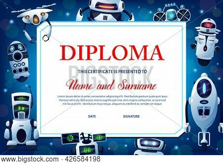 Kids Education Diploma With Robots, Vector Certificate For School Or Kindergarten With Cartoon Human