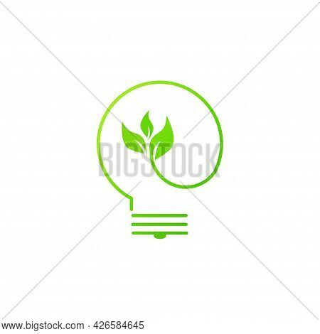 Green Contour Of Electric Light Bulb With Green Leaves. Isolated On White. Flat Line Icon. Vector Il